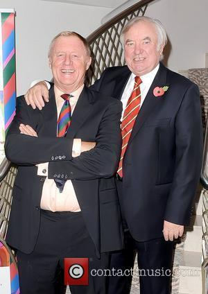 Chris Tarrant and Jimmy Tarbuck attend a tribute lunch for Sir Terry Wogan, held at the Dorchester Hotel London, England...