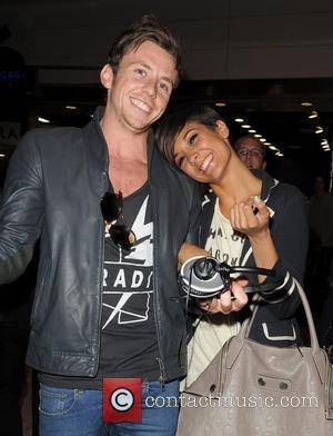 Frankie Sandford from girl group The Saturdays arriving at Heathrow Airport with Danny Jones from boy band McFly, having performed...