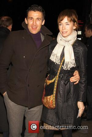 Jonathan Cake and his wife Julianne Nicholson Opening night of the play 'Time Stands Still' at the Samuel J. Friedman...