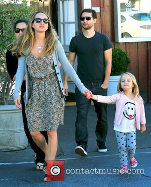 Tobey Maguire and his wife Jennifer Meyer (front) and their children Ruby Sweetheart and Otis Tobias out and about in...