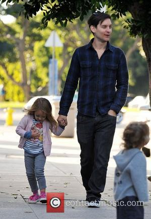 Tobey Maguire and his daughter, Ruby Sweetheart, head out for a family lunch in Santa Monica Santa Monica, California -...