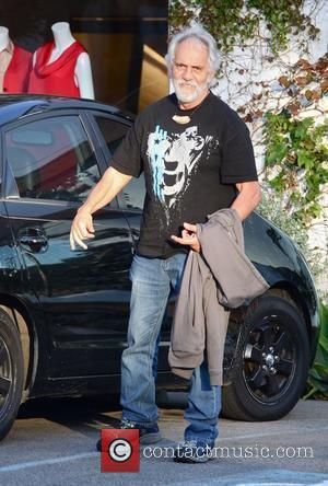 Tommy Chong meets a friend at a salon in West Hollywood Los Angeles, California - 09.12.10