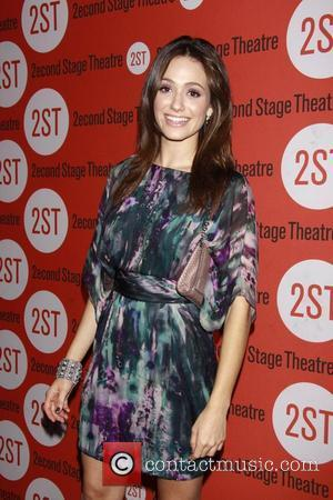 Emmy Rossum wearing Theia Opening night of the Off-Broadway production of 'Trust' at the 2nd Stage Theatre.  New York...
