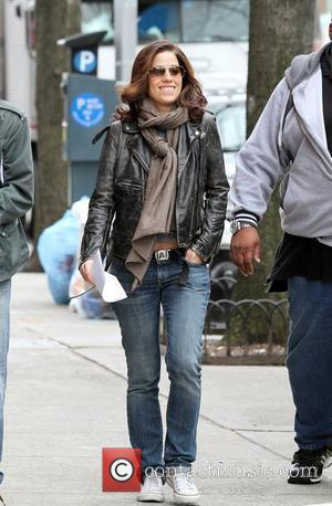 Ana Ortiz on location filming for 'Ugly Betty' in Queens New York City, USA - 31.03.10