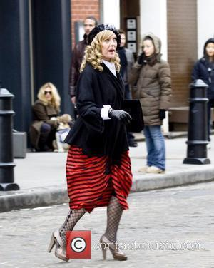 Ashley Jensen filming a scene for the TV show 'Ugly Betty' at the South Street Seaport New York City, USA...