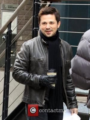 Freddy Rodriguez filming a scene for the TV show 'Ugly Betty' at the South Street Seaport New York City, USA...