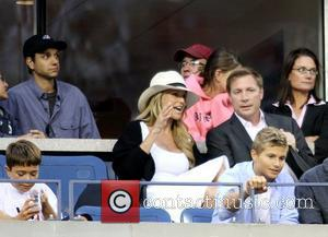 Ralph Macchio and Christie Brinkley Celebrities watching the Men's quarter-finals match on Day 11 of the 2010 US Open at...