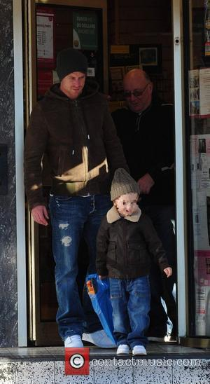 Wayne Bridge with son Jayden The Manchester City football player seen leaving a post office in Alderley Edge. Manchester, England...