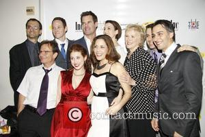 Peter Scolari, Jimmy Ray Bennett, Andrea Grano, Tuc Watkins, Rena Strober, Betty Buckley, and Christy Carlson Romano Opening night after...