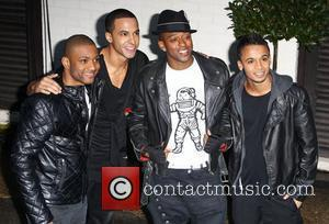 Jonathan 'JB' Gill, Marvin Humes, Oritse Williams and Aston Merrygold of JLS   arrive at the X factor studios...