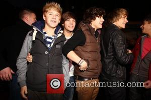Niall Horan, Louis Tomlinson, Harry Styles, Liam Payne and Zain Malik  X Factor Finalists, One Direction, arriving at HMV...