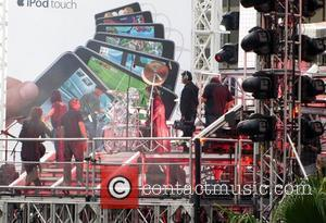 X Japan film their new music video on a large plexiglass stage at the Hollywood & Highland Center Los Angeles,...