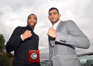 Lamont Peterson and Amir Khan attend a Promotional press conference at the Mayfair Hotel in London England on October 4,...
