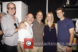 Scott Wittman, Marc Shaiman, Norbert Leo Butz, Laura Linney, and Aaron Tveit The cast and special guests celebrate the 100th...