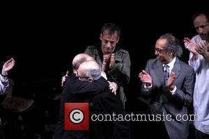 Joel Grey, Joe Mantello, John Benjamin Hickey, George C. Wolfe and Larry Kramer Opening night of the Broadway production of...