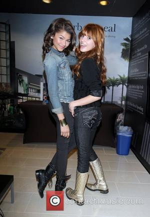Zendaya Coleman & Bella Thorne stars of the Disney Channel's new hit series Shake it Up! make their signature shake...