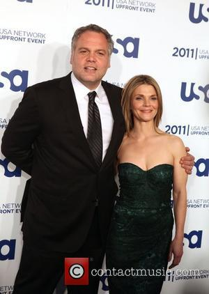 Vincent D'Onofrio, Kathryn Erbe from Law and Order: Criminal Intent the 2011 USA Upfront at The Tent at Lincoln Center...