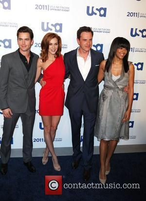 Jarie Burton, Matt Bomer, Bonnie Hammer, Tim DeKay, Marsha Thompson of White Collar the 2011 USA Upfront at The Tent...