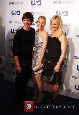 Chris Gorham, Piper Perabo, Kari Matchett of Covert Affairs the 2011 USA Upfront at The Tent at Lincoln Center New...