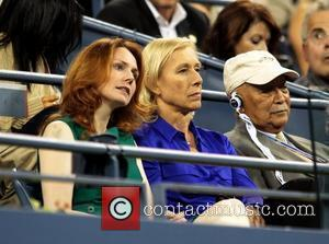 Martina Navratilova and her girlfriend Julia Lemigova watch the match between Venus Williams of the USA and Vesna Dolonts of...