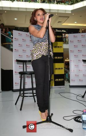 Alexis Jordan conducts an instore appearance with Nova FM radio host Craig Low at the Westfield shopping centre in Parramatta...