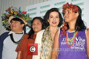 Bianca Jagger poses with Ruth Buendia Mestoquiari, President of Central Ashaninka Del Rio Ene, Peru, Sheyla Yakarepi Juruna, Representative of...