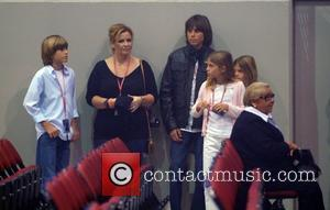 Enrique Iglesias' family arrives to see him perform at the Seminole Hard Rock Hotel and Casinos' Hard Rock Live...