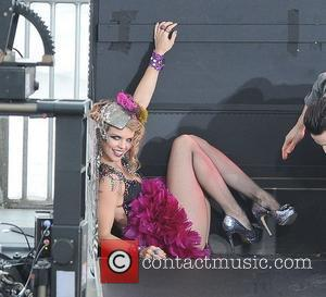 AnnaLynne McCord  filming a magic show scene on the set of '90210' in Redondo Beach  Los Angeles, California,...
