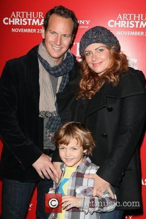 Patrick Wilson, son Kal and wife Dagmara Dominczyk Arthur Christmas MTA Shuttle unveiling at Grand Central Shuttle Station 42nd Street...