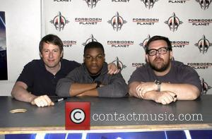 Nick Frost, Joe Cornish and John Boyega at an autograph signing at Forbidden Planet to promote their new film 'Attack...