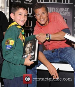 Bear Grylls  promoting and signing copies of his new book 'Mud, Sweat and Tears' at Waterstones in Piccadilly London,...