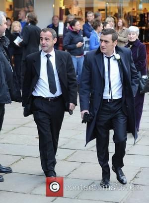 Michael Le Vell and Chris Gascoyne  The funeral of Betty Driver held at St Ann's Church Manchester, England -...