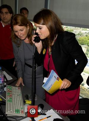 Sarah Ferguson and Princess Eugenie,  on the trading floor of BGC Partners' Charity Day which is held each year...