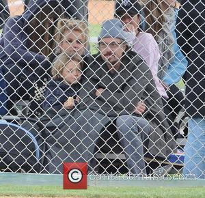 Britney Spears, with boyfriend Jason Trawick and son Jayden Federline, attending her son Sean Preston's little leage baseball match Los...