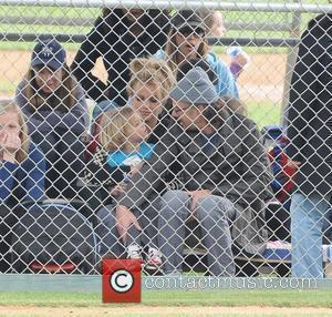 Britney Spears, with boyfriend Jason Trawick and son Jayden Federline, attending her son Sean Preston's little leage baseball match Los...