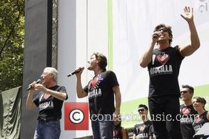 Tony Sheldon, Eric Sciotto, Nick Adams and the cast from 'Priscilla Queen of the Desert'  Broadway in Bryant Park...