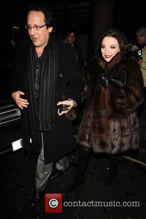 Joan Collins and Percy Gibson leave C London restaurant London, England - 01.02.11