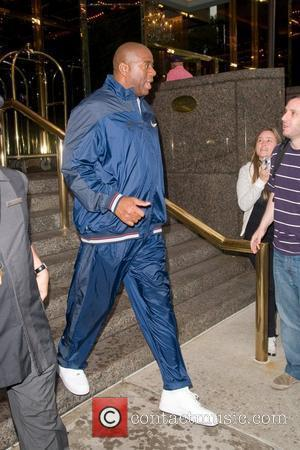 Magic Johnson  leaving his Manhattan hotel  New York City, USA - 14.10.11