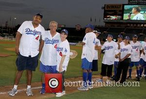 Omar Benson Miller, Kate Linder and Guest Steve Garvey's Celebrity Softball Game for ALS Research held at the Angels Stadium...