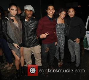 Band member of the Far East Movement  pose outsides Whisky Mist club with friends London, England - 12.06.11