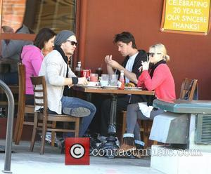 Chad Michael Murray and his fiancee Kenzie Dalton enjoy lunch together at a cafe in Studio City Los Angeles, California...