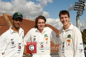Alfie Enock with Oliver and James Phelps from Harry Potter at the Children in Need charity cricket game held at...
