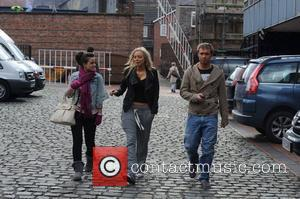 Georgia May Foote, Sacha Parkinson and Chris Fountain leaving the Granada Studios after filming 'Coronation Street'  Manchester, England -...