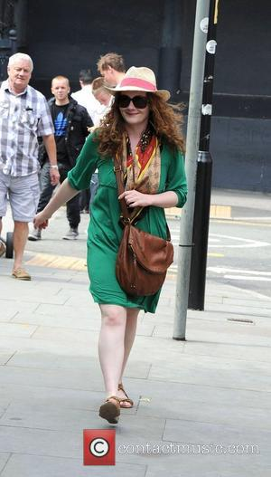 Coronation Street star Jennie McAlpine leaves the Coronation Street set in a green dress and straw hat Manchester, England -...