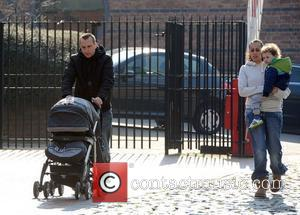 Andy Whymet and nd wife Nicola Willis leaves the set of 'Coronation Street' at the Granada Studios Manchester, England -...