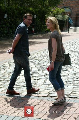 Chris Gascoyne, Jane Danson 'Coronation Street' stars heading to a nearby cafe Manchester, England - 04.07.11