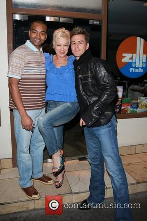 Johnson Beharry VC, Denise Welch and Matt Evers at the Dancing on Ice wrap party at Zilli Fish restaurant in...