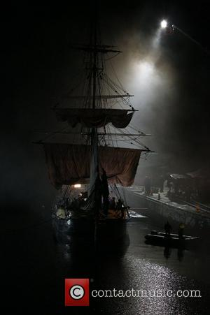 Atmosphere - Pirate's Ship Matt Smith and Karen Gillan on the film set of 'Dr Who' in Cornwall. Cornwall, England...