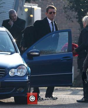 Scott Maslen EastEnders actors leaving a church after filming scenes for the funeral of Pat Butcher Hertfordshire, England - 15.11.11