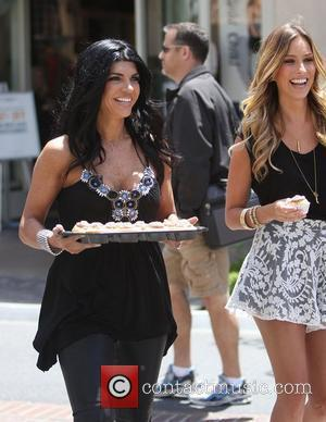 Teresa Giudice filming for the entertainment television news programme 'Extra' at The Grove Los Angeles, California - 11.05.11